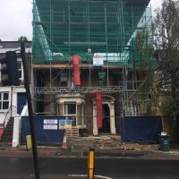 Building up roof structure for a tree storey building on Lewisham High Street16